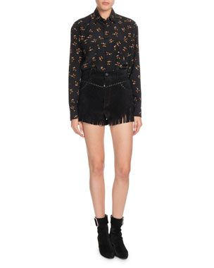 76496c0760fef Saint Laurent Mickey Mouse Button-Front Long-Sleeve Silk Classic Blouse  Suede Shorts with