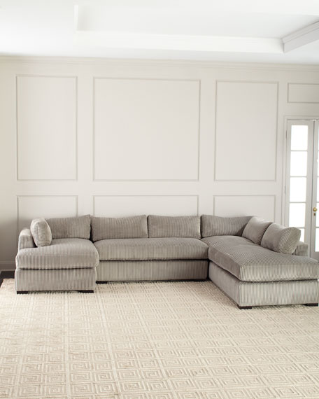 """Old Hickory Tannery Mitchell Upholstered Sectional Sofa (Left Facing) 136.5"""""""