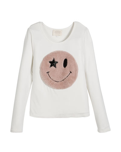 Long-Sleeve Top w/ Faux Fur Smiley Face, Size 4-6X  and Matching Items