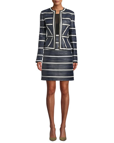 Leather Seamed-Stripe Zip Jacket and Matching Items