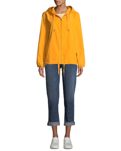 Hooded Zip-Front Long-Sleeve Cotton-Blend Jacket and Matching Items