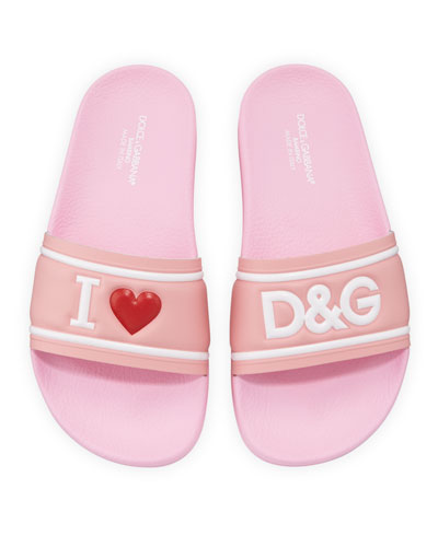 Leather I Heart D&G Pool Slide Sandals  Kids  and Matching Items