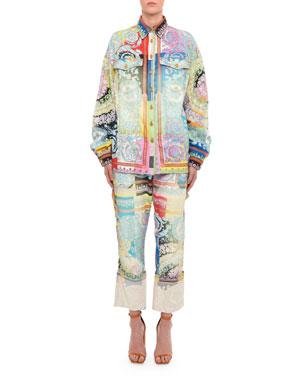3c7a67f7c8 Versace Floral-Print Denim Shirt Jacket Floral-Print Denim Cargo Pants