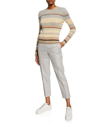 Striped Crewneck Crop Sweater and Matching Items