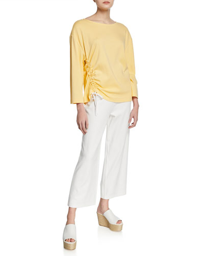 Stretch-Interlock Wide-Leg Ankle Pants and Matching Items