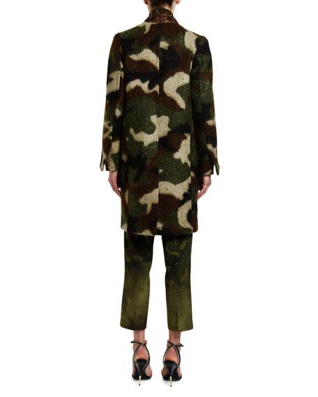 Ermanno Scervino Camo Jacquard Knee-Length Coat