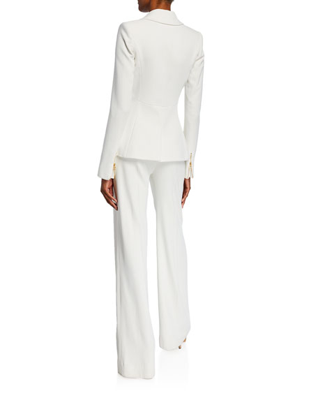Brandon Maxwell Double Pocket Zip-Trim Blazer