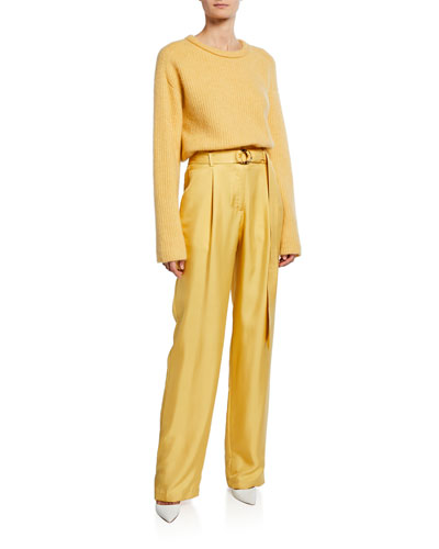 Belted High-Waist Silk Twill Pants  Yellow and Matching Items