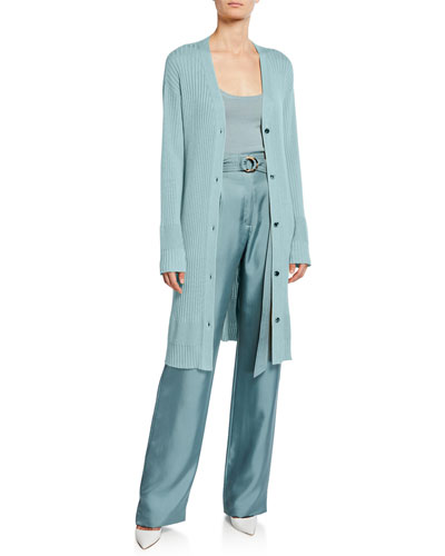 Lightweight Cashmere-Silk Ribbed Duster Cardigan  Blue and Matching Items