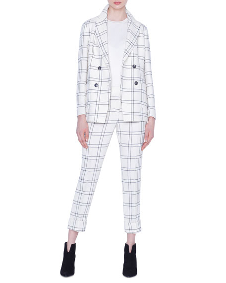 Akris Danita Check Wool Crepe Jacket