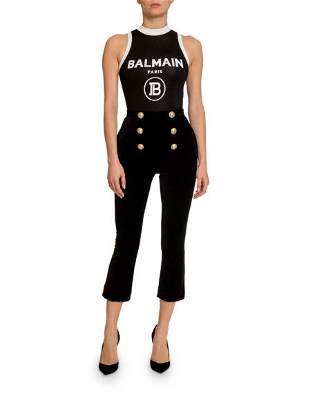 Balmain Velvet 6-Button Crop Flare Pants