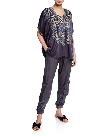 Johnny Was Petite Hendaya Embroidered Lace-Up Blouse