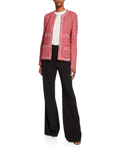 Artisinal Basket Weave Drop-Shoulder Jacket w/ Trim Detail and Matching Items