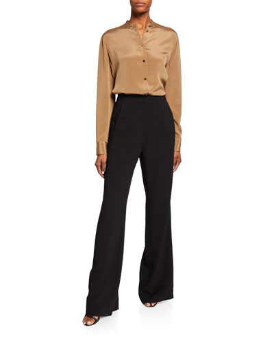 Stretch-Silk Button-Front Blouse and Matching Items