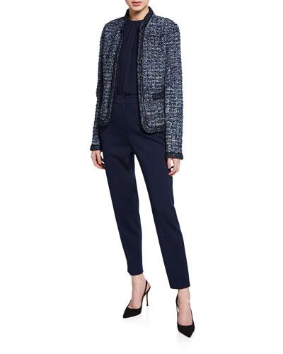 Novelty Ribbon Tweed Knit Jacket with Pockets and Matching Items