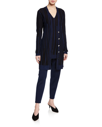 Plaited Engineered Rib Knit Button-Front Cardigan and Matching Items