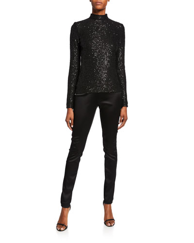 Statement Sequin Mock-Neck Top with Zipper Sleeves and Matching Items