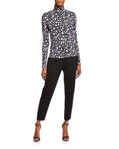 Snow Leopard Stretch Nuda Jersey Turtleneck Top and Matching Items