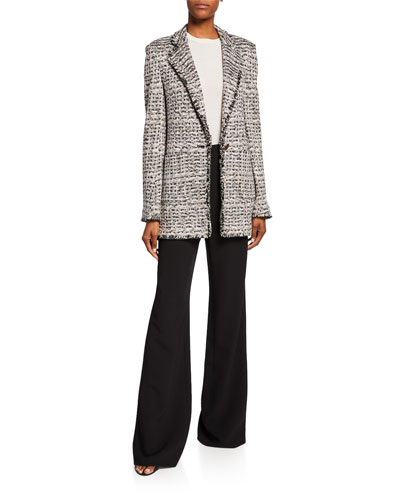 Space-Dyed Tweed Knit Jacket with Patch Pockets and Matching Items