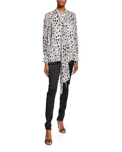 Snow Leopard-Print Devore Blouse with Chiffon Scarf  and Matching Items