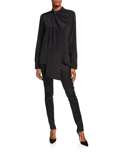 Stretch-Silk Blouse with Sequined Drape-Neck and Matching Items