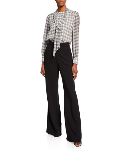 Prince Of Wates Plaid-Print Tie-Neck Silk Blouse and Matching Items