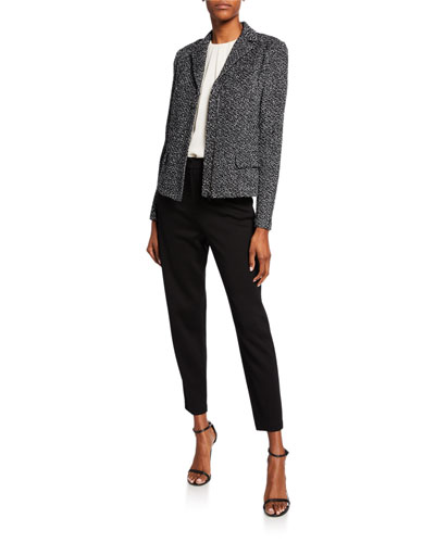 Textured Boucle Tweed Jacket with Flap Pockets and Matching Items