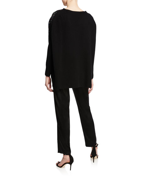 St. John Collection Embellished Confetti Cashmere Fully Fashion Sweater w/ High-Low Detail