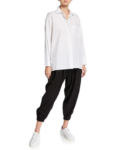 Button-Front Cotton Poplin Shirt w/ Side-Button Detail and Matching Items