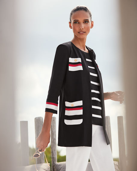 Misook Plus Size Striped Long Jacket with Button Detail