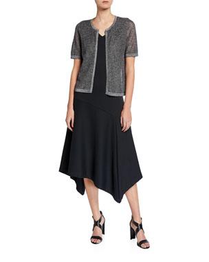 390dec880e21 Joan Vass Plus Size Metallic Mesh Short-Sleeve Open-Front Cardigan Plus  Size V