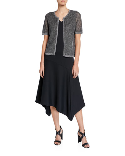 Metallic Mesh Short-Sleeve Open-Front Cardigan and Matching Items
