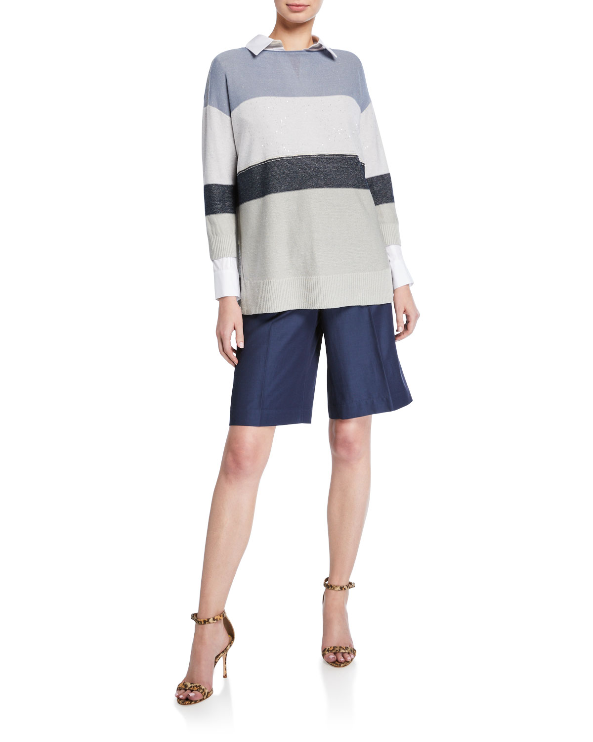 Chain Embellished Colorblock Boat Neck Sweater by Lafayette 148 New York