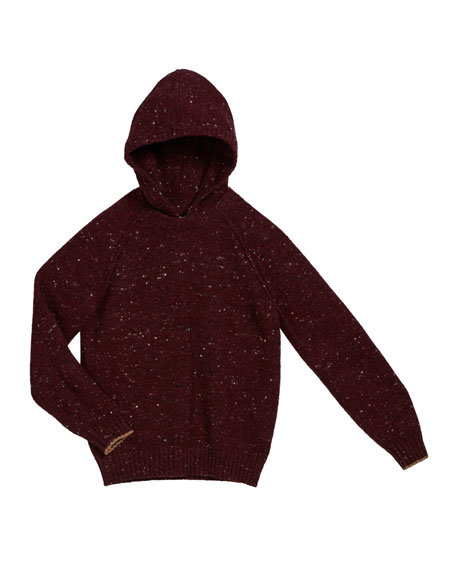 Brunello Cucinelli Boy's Speckled Tweed Hooded Sweater, Size 8-10