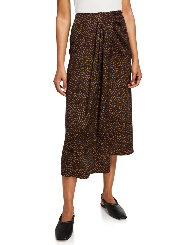 Vince Star Dot Asymmetric Drape Skirt Neiman Marcus
