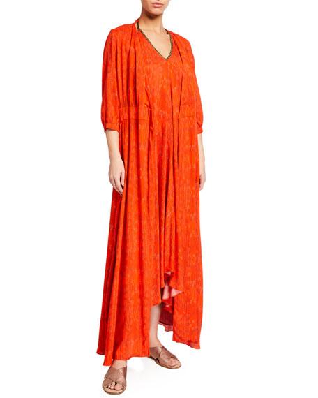 Hansine Athena Feather-Print Wrap Coverup Dress