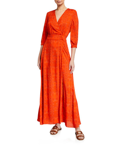 Athena Feather-Print Wrap Coverup Dress