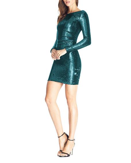 Dress The Population Lolita Sequin Long-Sleeve Mini Bodycon Dress