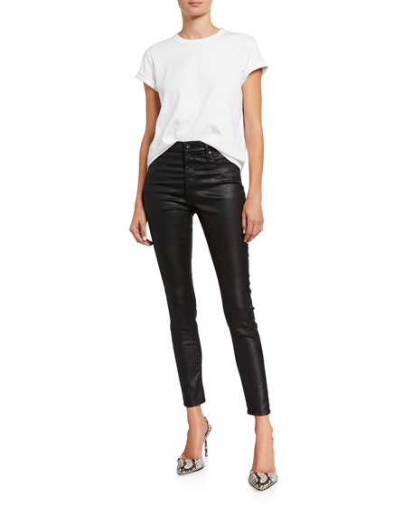 Image 3 of 3: AG Adriano Goldschmied Farrah Leatherette High-Rise Ankle Skinny Jeans