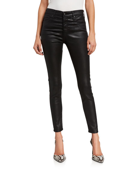 Image 1 of 3: AG Adriano Goldschmied Farrah Leatherette High-Rise Ankle Skinny Jeans