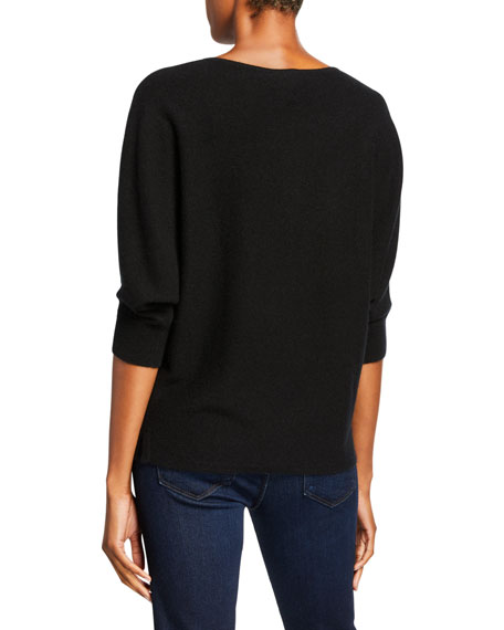 Neiman Marcus Cashmere Collection Crewneck 3/4-Sleeve Cashmere Sweater
