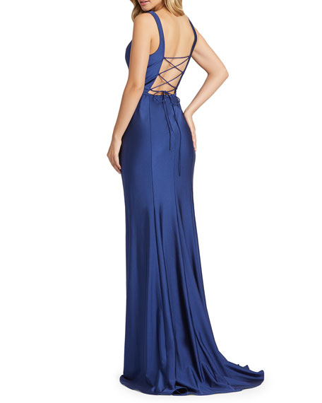 Image 2 of 2: Mac Duggal V-Neck Corset-Back Jersey Mermaid Gown
