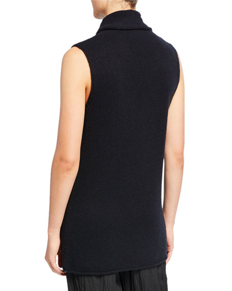 Image 2 of 2: Vince Sleeveless Ribbed Funnel-Neck Cashmere Top