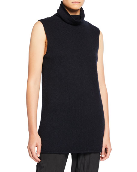 Image 1 of 2: Vince Sleeveless Ribbed Funnel-Neck Cashmere Top