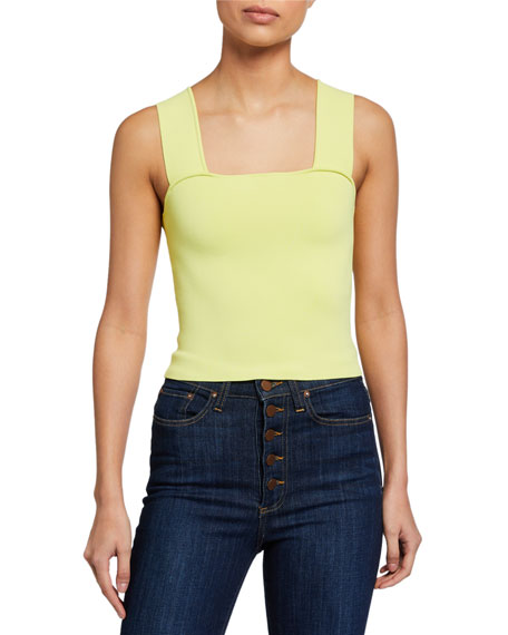 Image 1 of 2: Alice + Olivia Rashida Square-Neck Cropped Tank