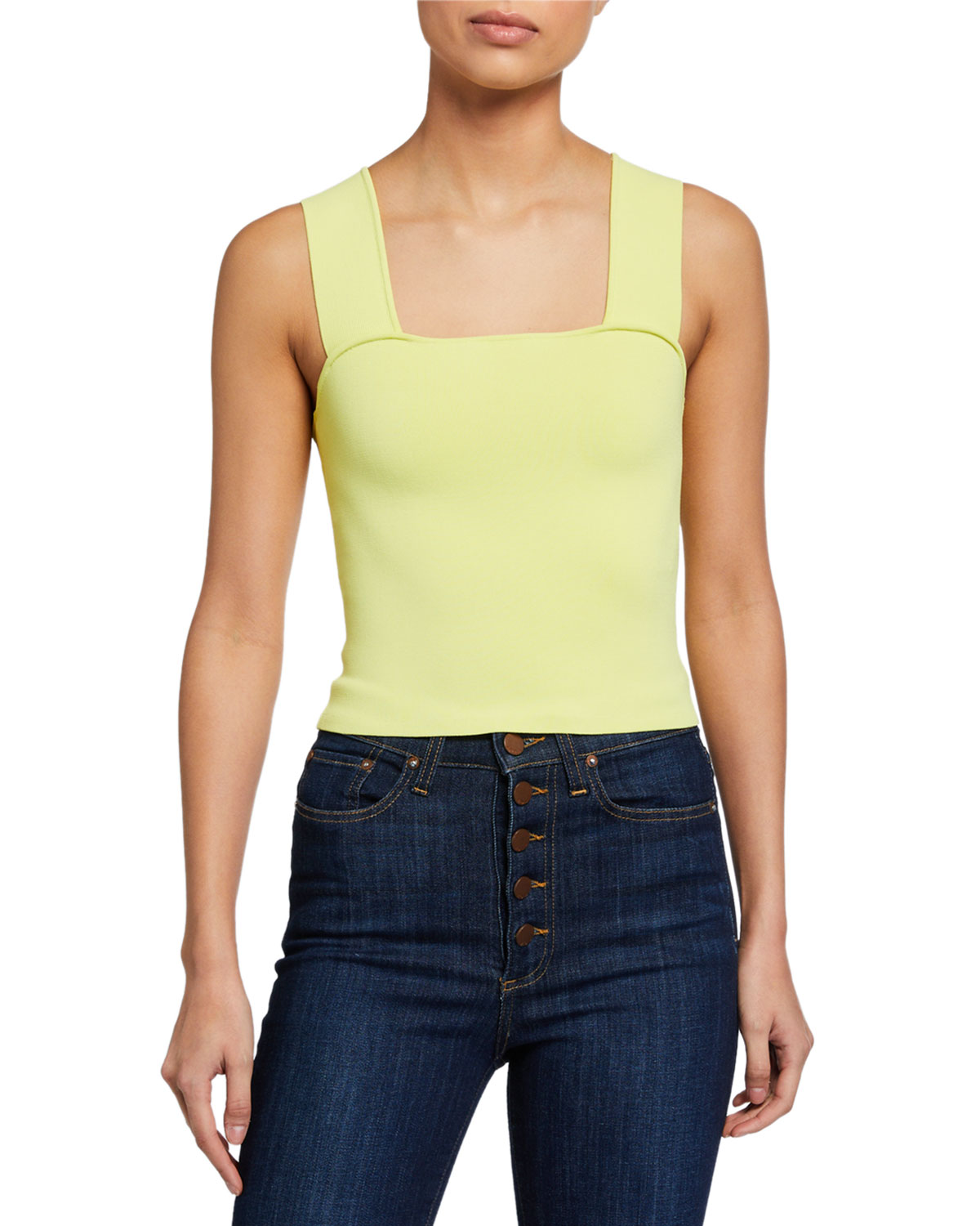 Alice + Olivia Rashida Square-Neck Cropped Tank