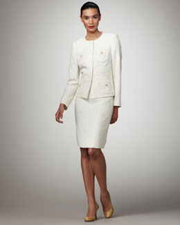 Albert Nipon Tweed Skirt Suit