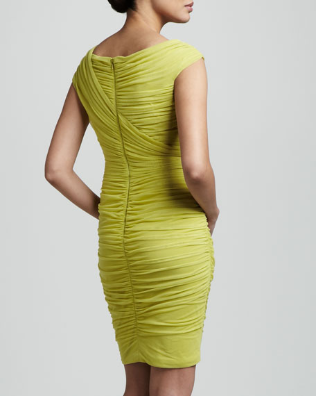 Asymmetric-Neck Ruched Dress