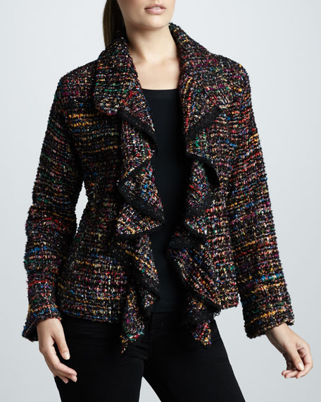 Ruffled Tweed Jacket, Petite