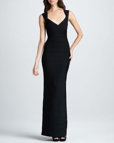 Herve Leger SWEETHEART NECK LONG GOWN